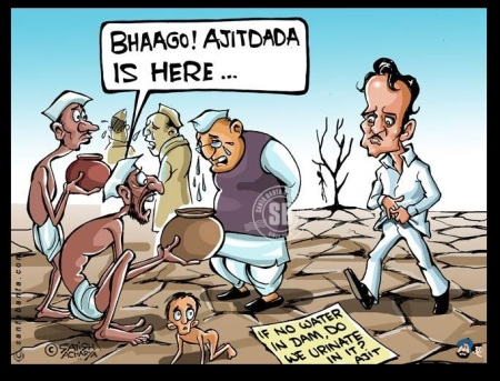 Ajit Pawar urination comment, 2013-cartoon